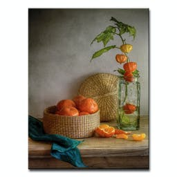 Still Life with Clementines Canvas Wall Décor Grey