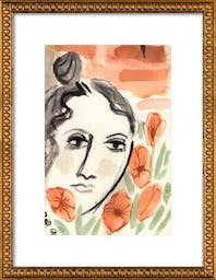 """Verity in the Garden by Michael Doyle - Apartment On Belmont, 14"""" X 20"""", Ornate - Gold Crackle Bead Wood Frame, With Matte"""