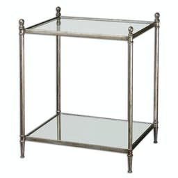Gannon Mirrored Glass End Table Silver