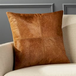 """18"""" Abele Brown Cowhide Pillow with Down-Alternative Insert"""