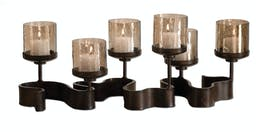 Ribbon Metal Candleholders Antiqued Silver