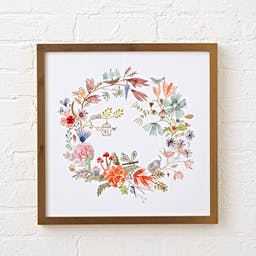 Watercolor Floral Wreath Wall Art