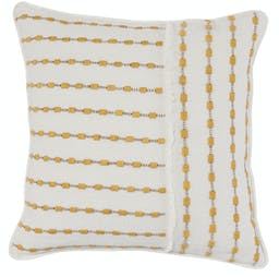 Gretta Embroidered Square Pillow Yellow