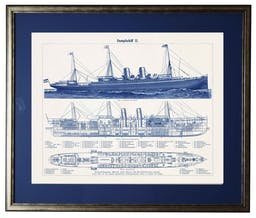 Ship 1, matted in navy, in silver and black frame Blue Wall Art