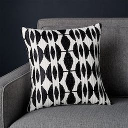 """Moyano Black Patterned Pillow with Down-Alternative Insert 16"""""""