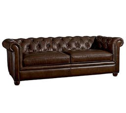 """Chesterfield Leather Grand Sofa 96"""", Polyester Wrapped Cushions, Vintage Cocoa"""