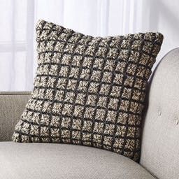 """Dinard Black and White Pillow with Feather-Down Insert 18"""""""