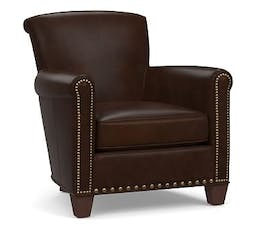 Irving Leather Armchair, Bronze Nailheads, Polyester Wrapped Cushions, Leather Legacy Chocolate