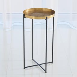 Plaid Etched Accent Table Brass
