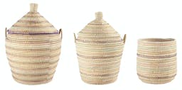 Handwoven Grass Baskets with Lids (Set of 3 Sizes) Multicolor