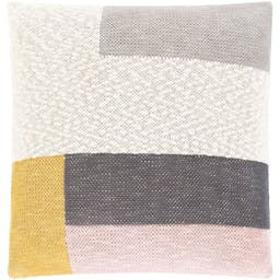 Colorblock Square Pillow Beige/Pink