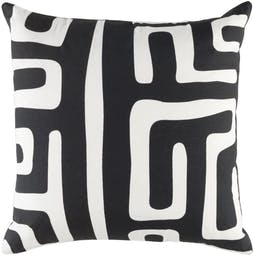 """Cameron Pillow with Polyester Insert, 18""""x18"""" Black/White"""