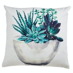 Potted Succulent Outdoor Pillow Green