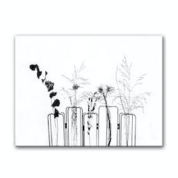 Black Flowers on White Background Canvas Wall Décor, 12 x 16 Black and White