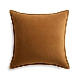 """Cognac 20"""" Washed Cotton Velvet Pillow with Feather-Down Insert"""