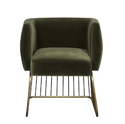 Dell Dining Chair, Antique Brass, Green