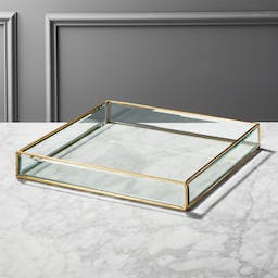 Large Brass and Glass Tray