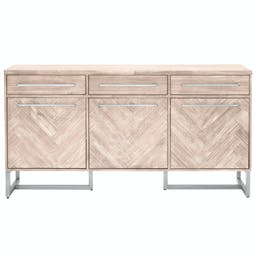 Aspen Media Sideboard Natural Gray, Brushed Stainless Steel