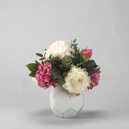 Pink and Cream Peonies in Glass Ball White