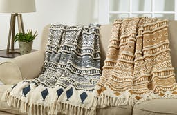 Printed and Embellished Throw Saffron