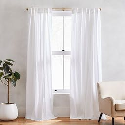 """Cotton Canvas Curtain with Cotton Lining, White, 48""""x84"""", Set of 2"""