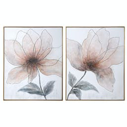 Vanishing Blooms Hand Painted Canvases, Set/2 Peach Multi