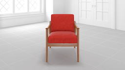 Midcentury Show Wood Upholstered Chair:FSC Poly:Heathered Weave:Cayenne:Pecan