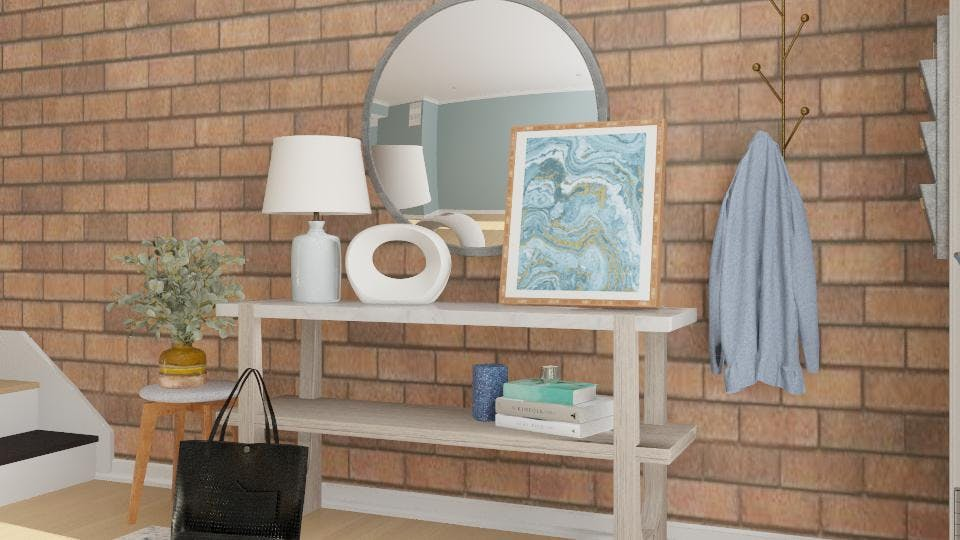 Entryway Table Styling: Blue