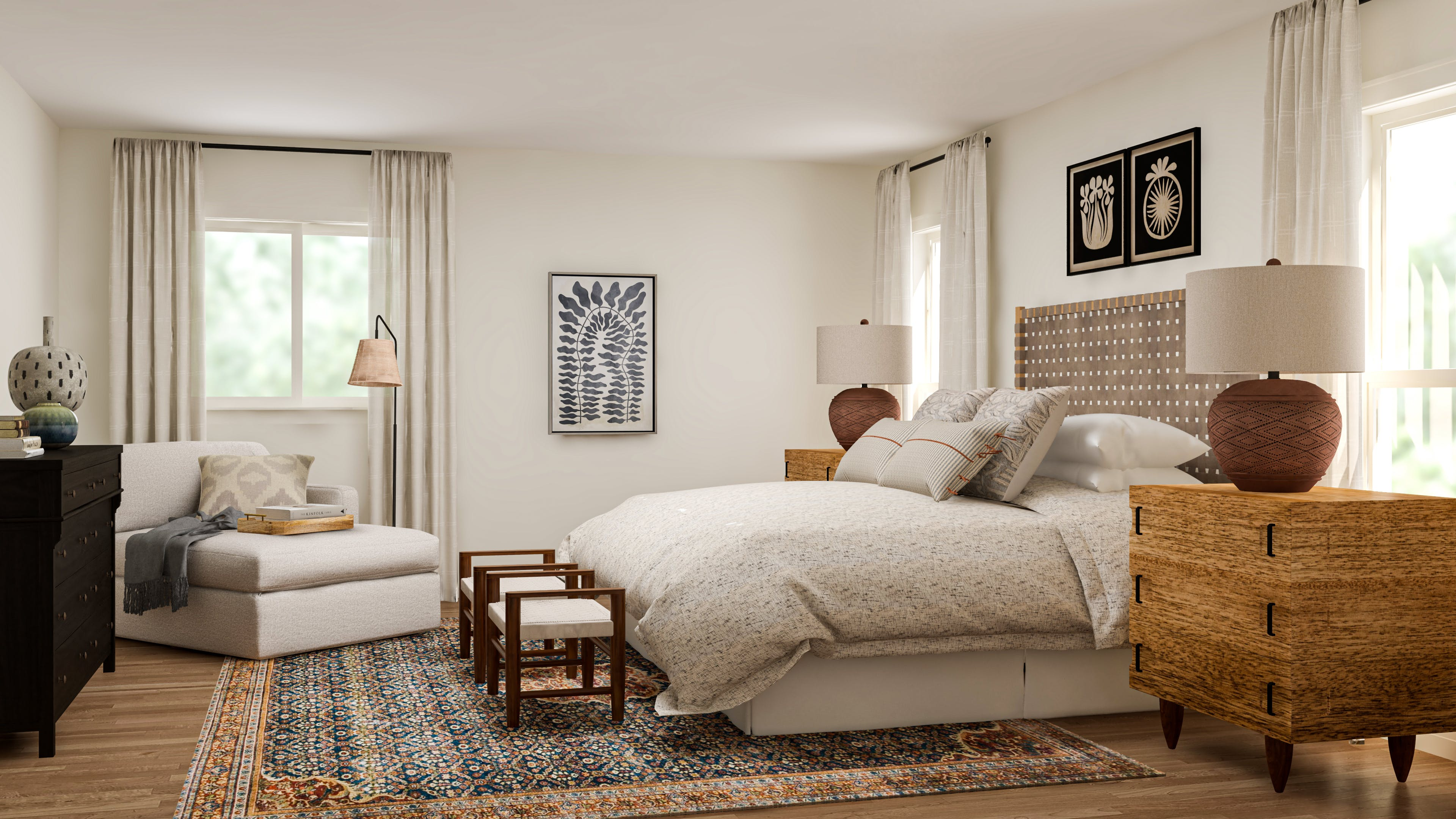 A California Casual Bedroom With Traditional Roots