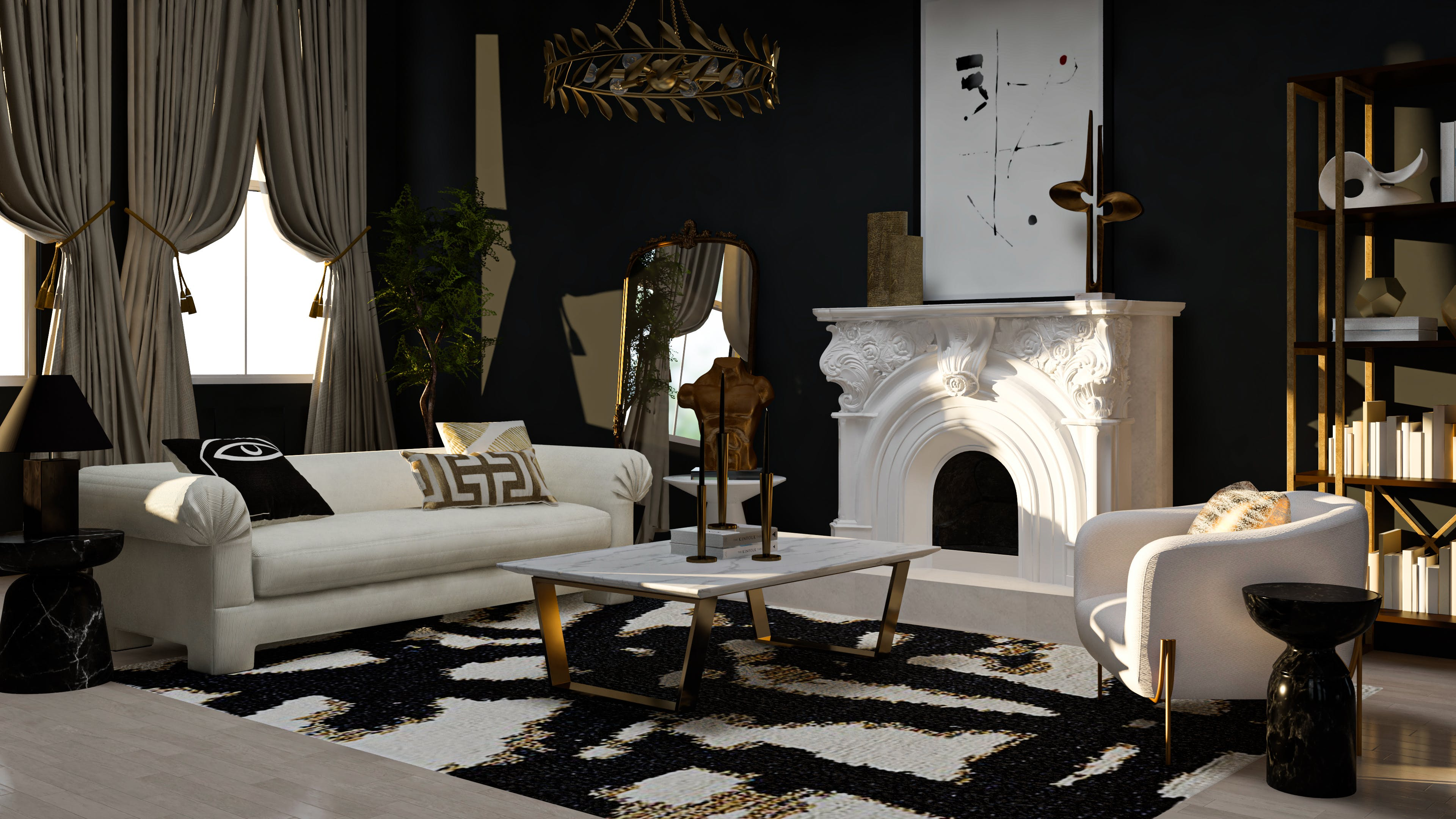 A Glam Living Room Of Black And Gold Dreams