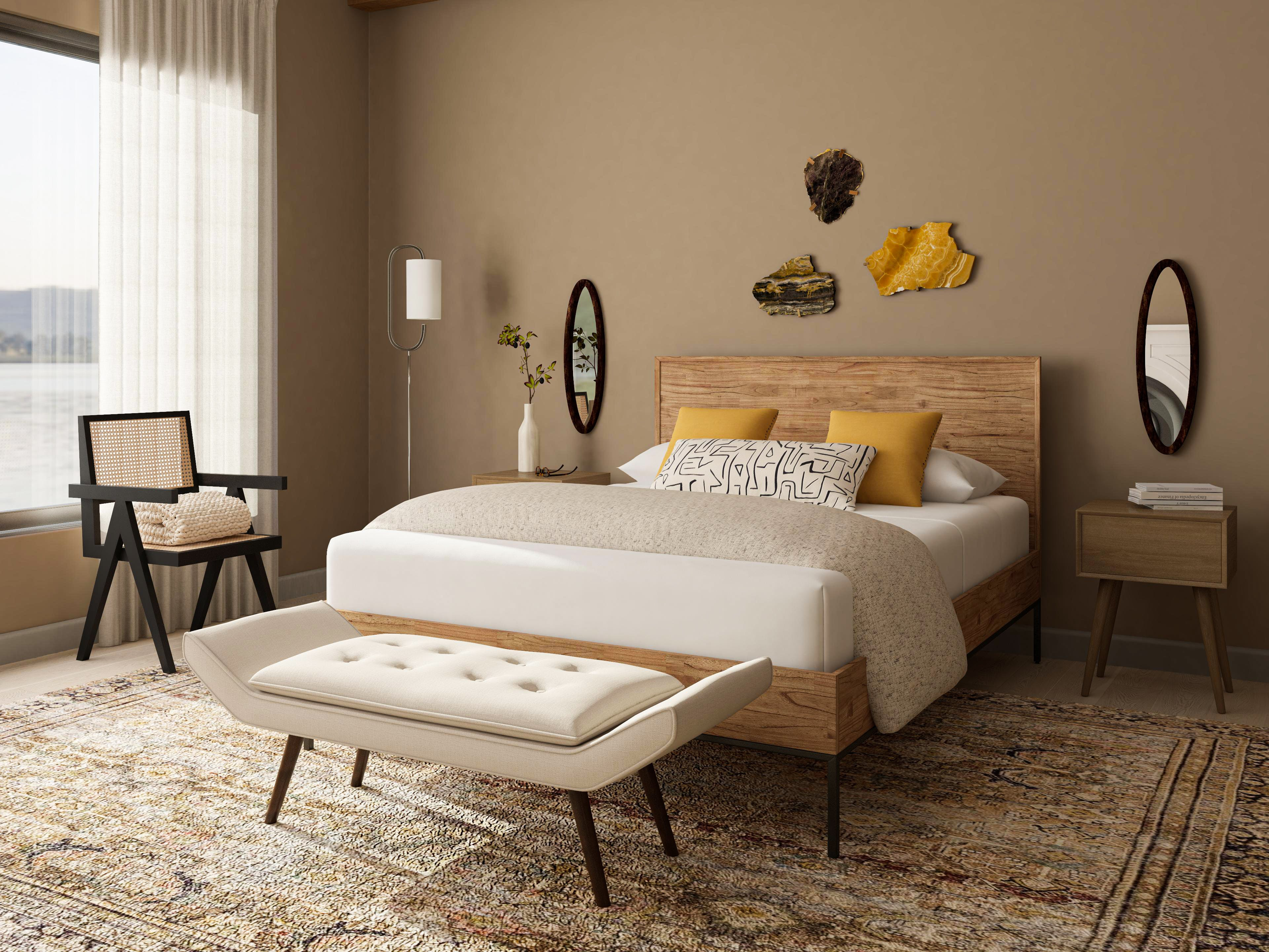 Mid-Century Modern Style Bedroom with Rustic Flare and Winged Bench