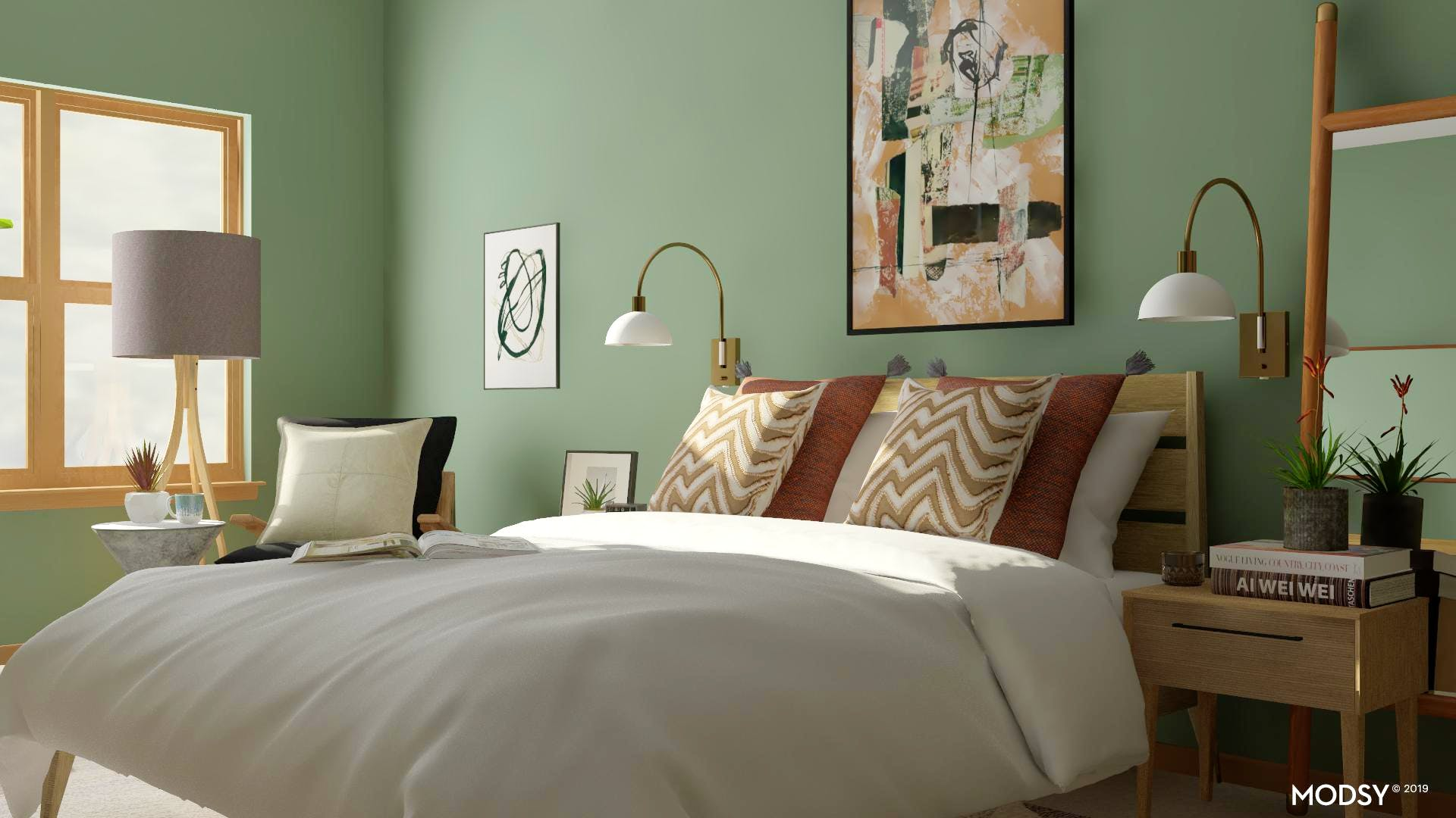 Down To Earth Tone Mid-Century Modern Bedroom