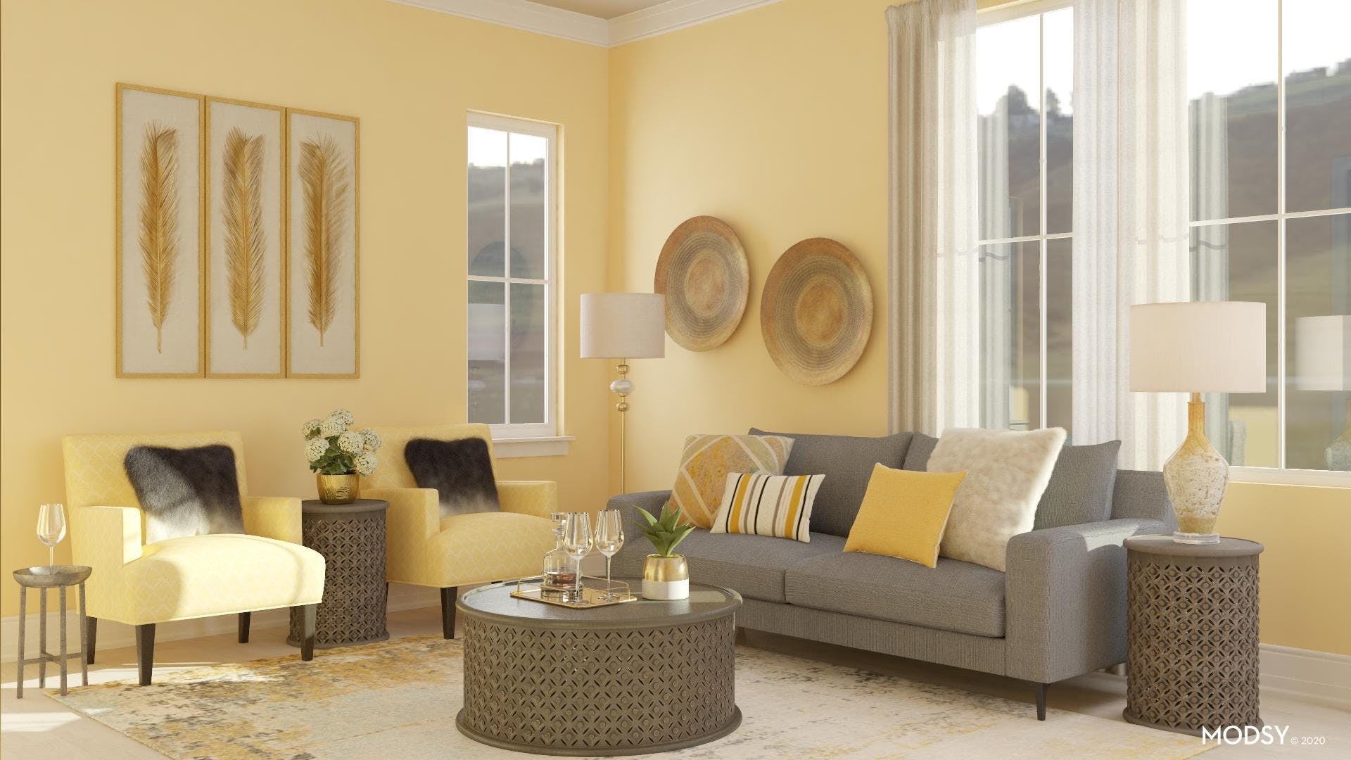 Yellow Transitional Living Room