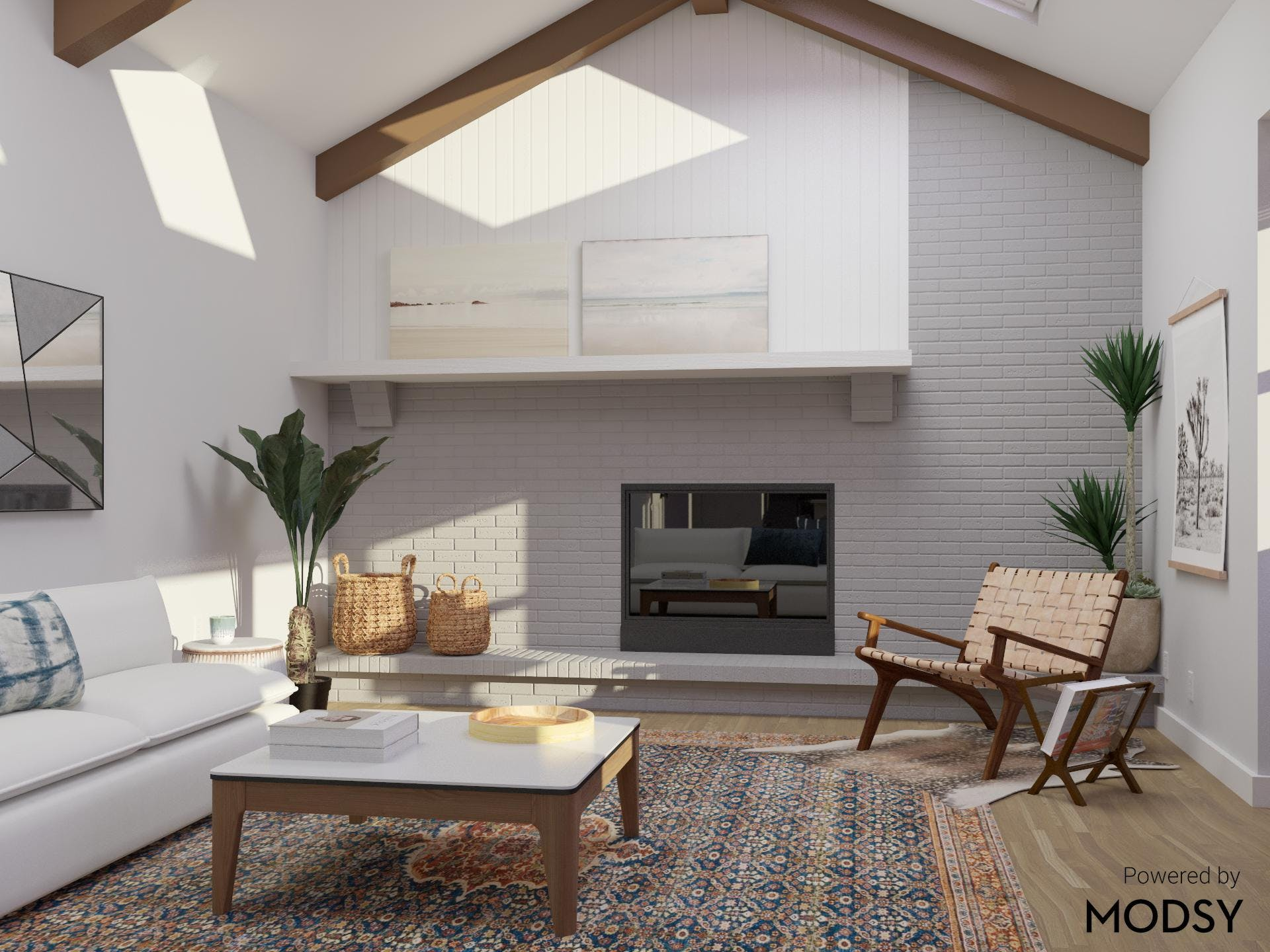 Eclectic Living Room with Mid-Century-Modern Appeal and Cozy Fireplace