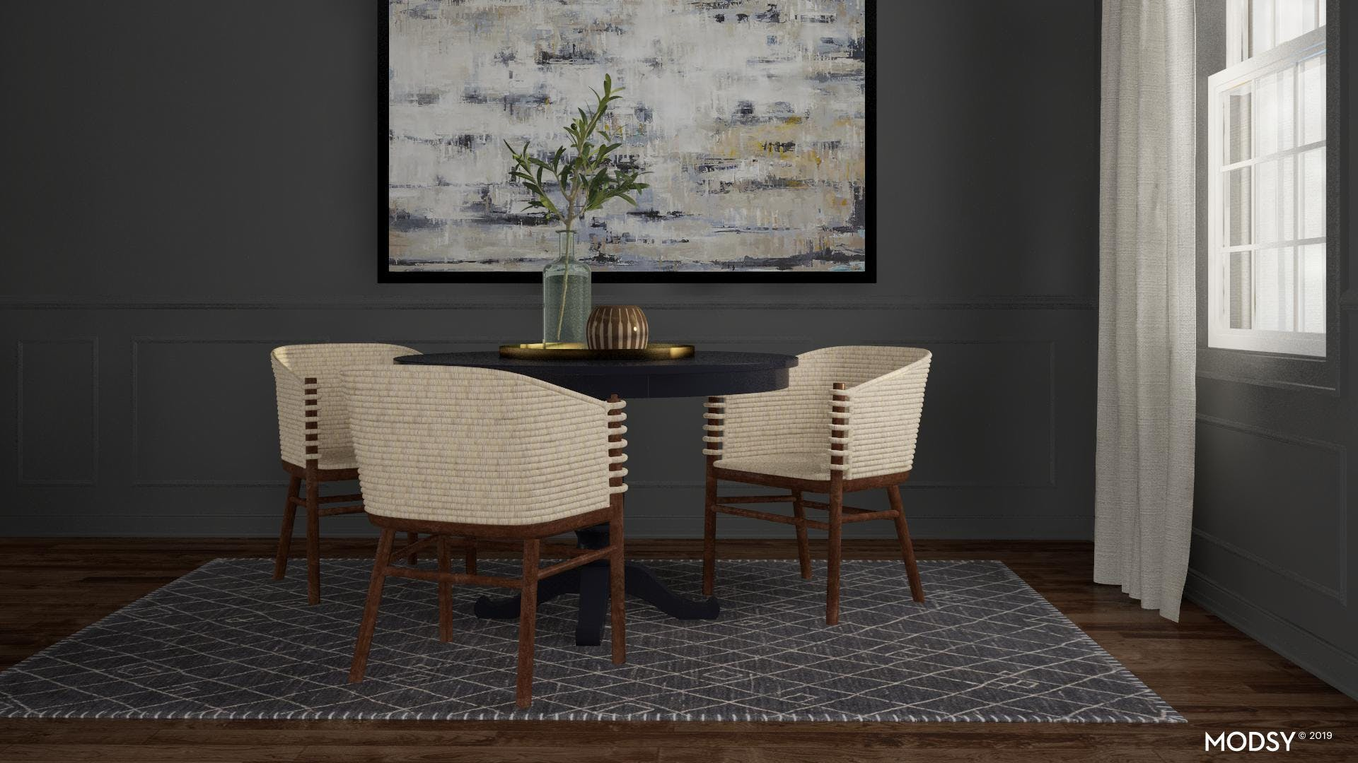 Neutral Dining Room with a Textural Twist