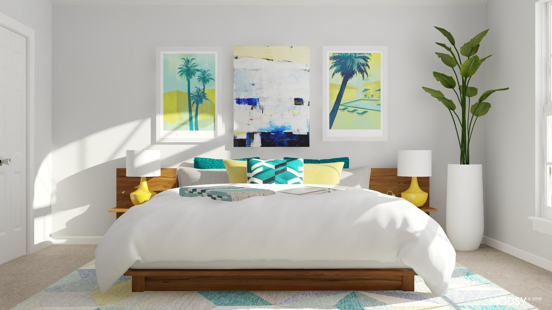 Fresh & Bright Multicolored Masculine Bedroom