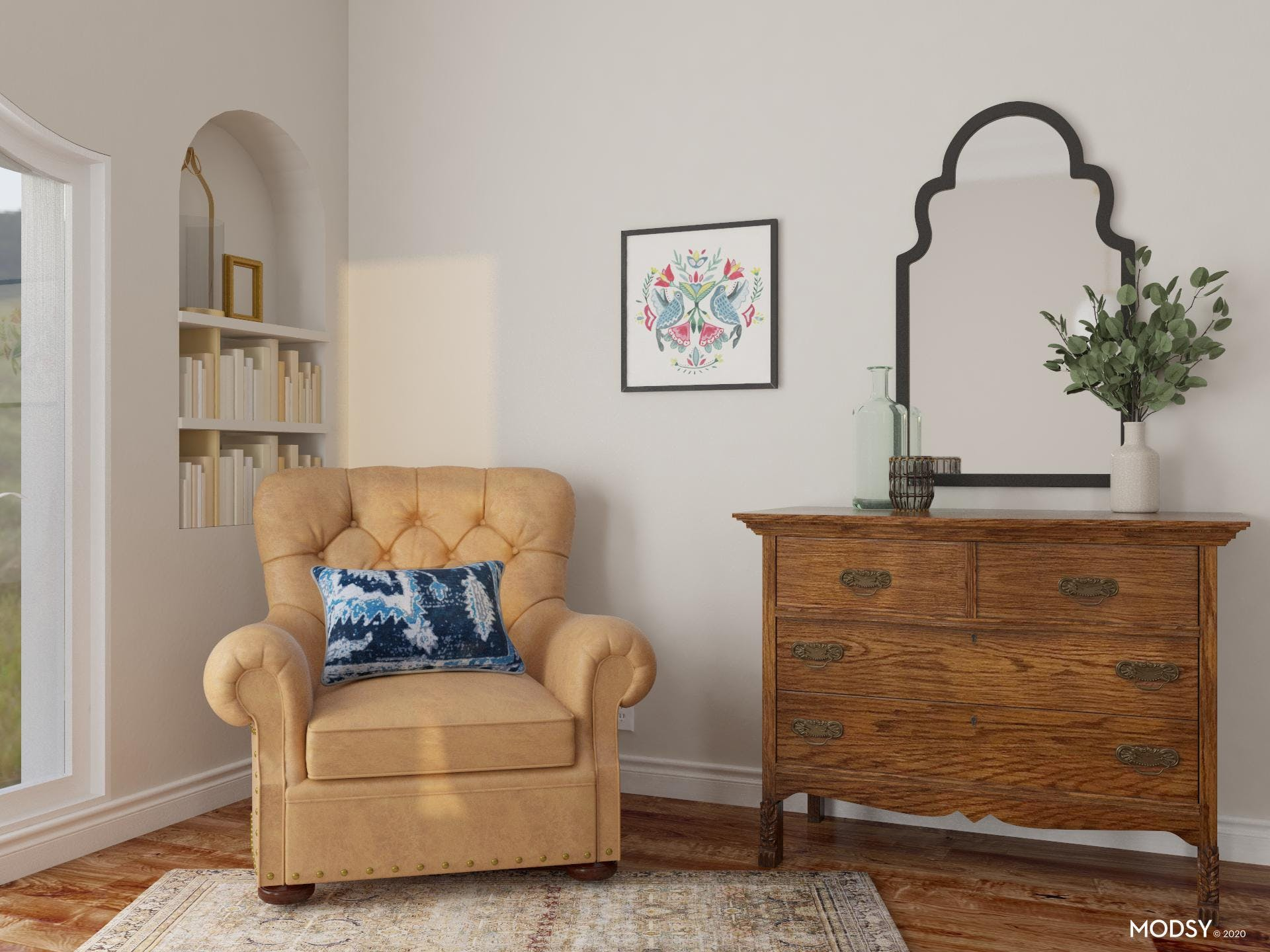Traditional Bedroom Reading Nook with Arched Built-In