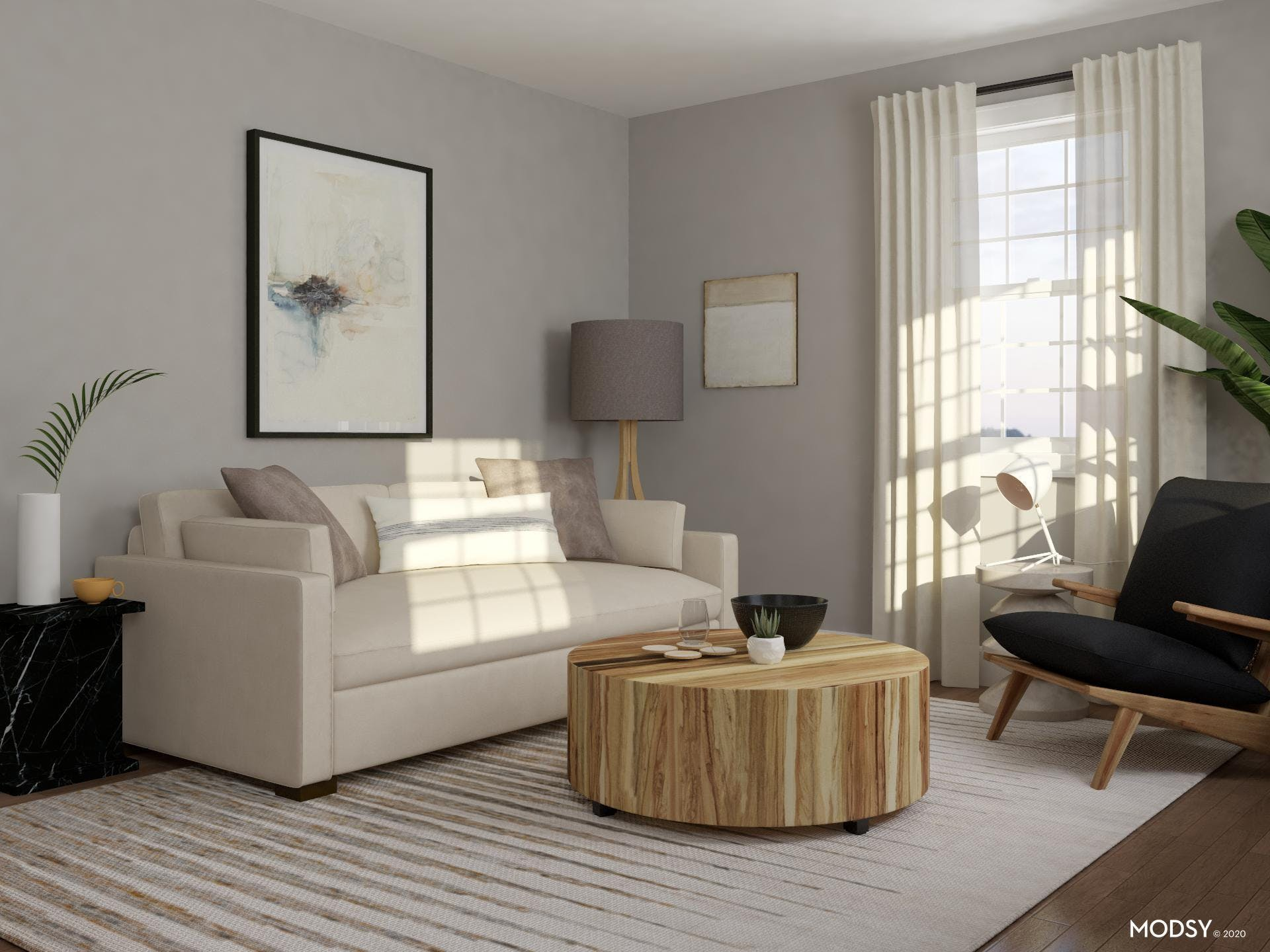 Cool, Calm, and Neutral Living Room