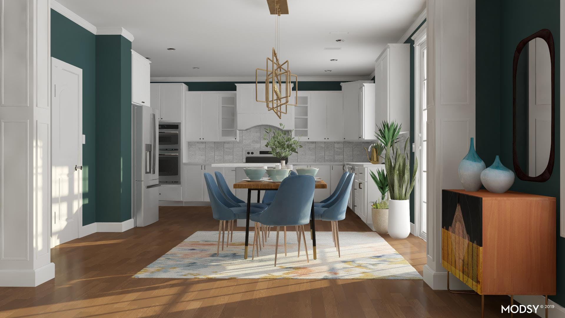 Multi-Colored Eat-In Kitchen