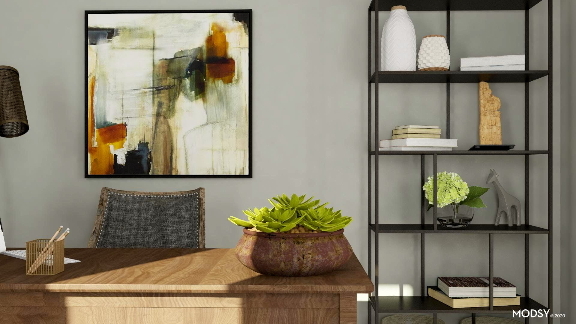 Abstract Art and Decor in Traditional Home Office
