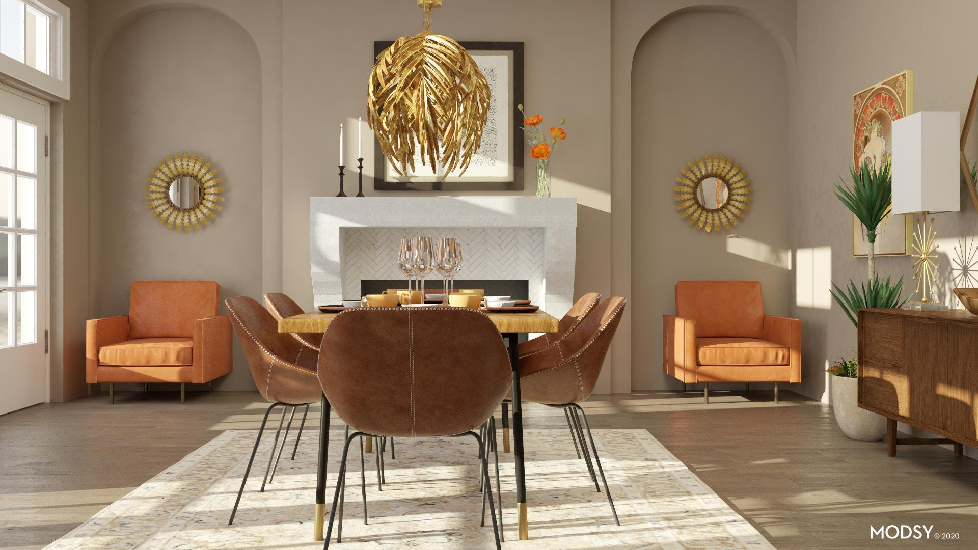 Cozy Accent Chairs in Mid-Century Dining Room