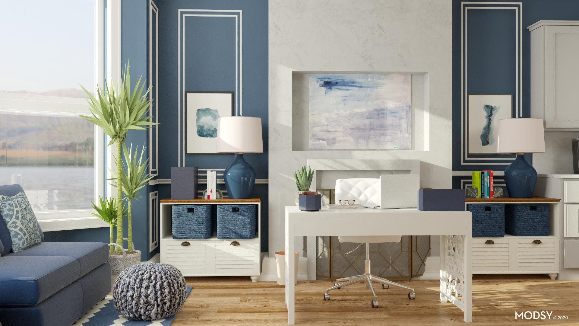 Transitional Blue Office