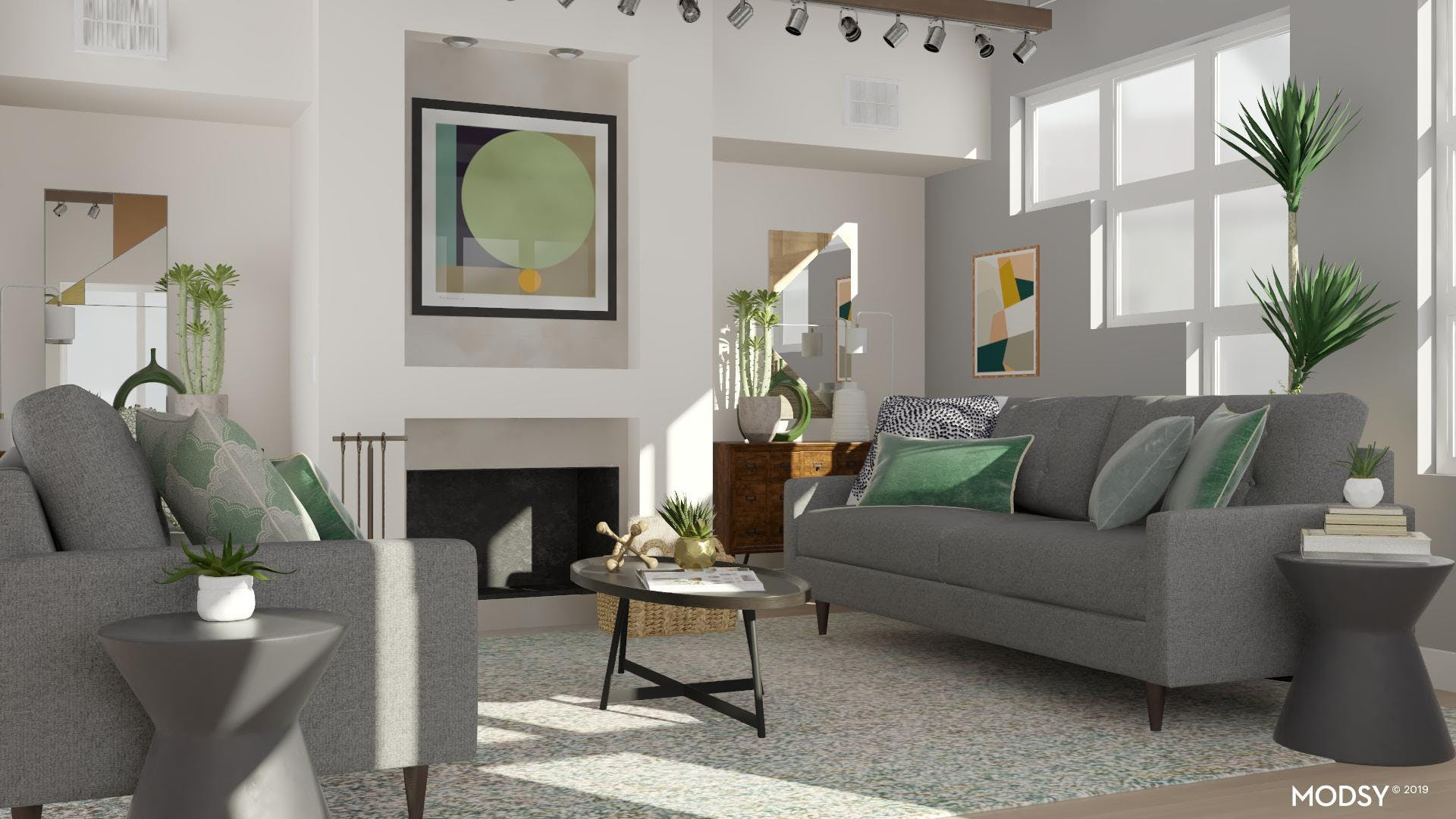 Mod Living Room with Green Touches