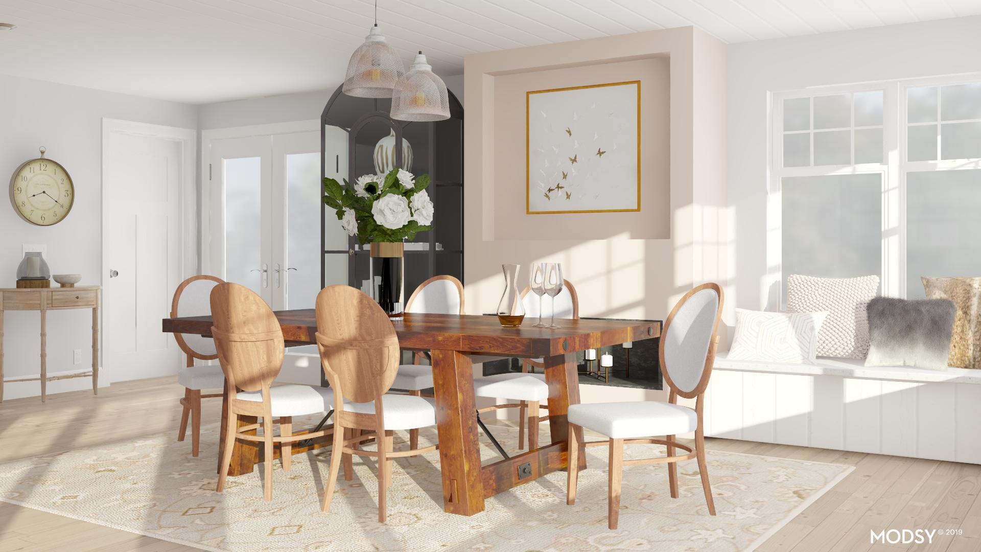Pump Up a Traditional Neutral Dining Room With The Use of Line