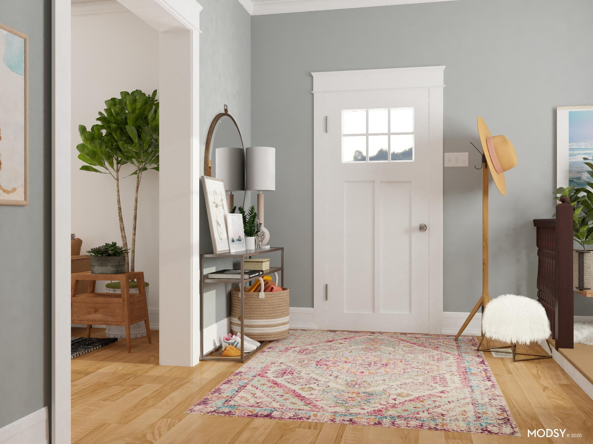 A Simple And Modern Pastel Entryway