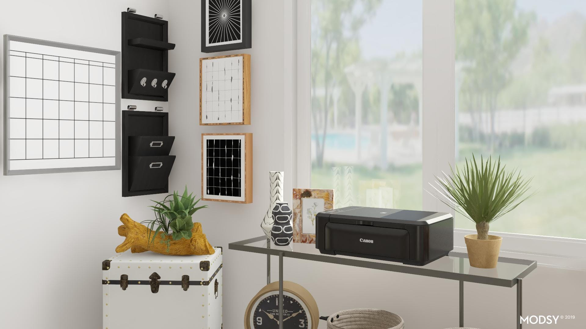 Monochromatic Office with Coastal Appeal