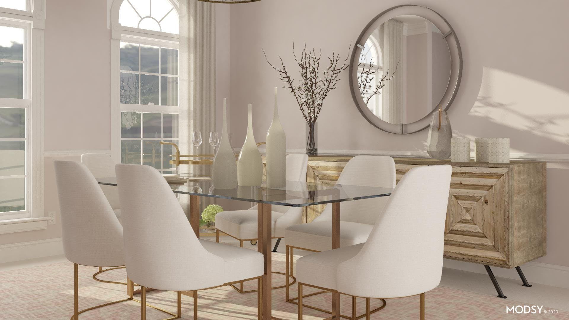 Glam in Pastel Dining Room
