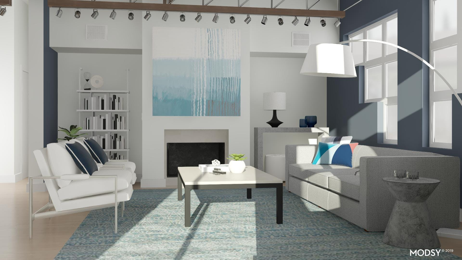 A Cozy And Blue Living Room Lounge