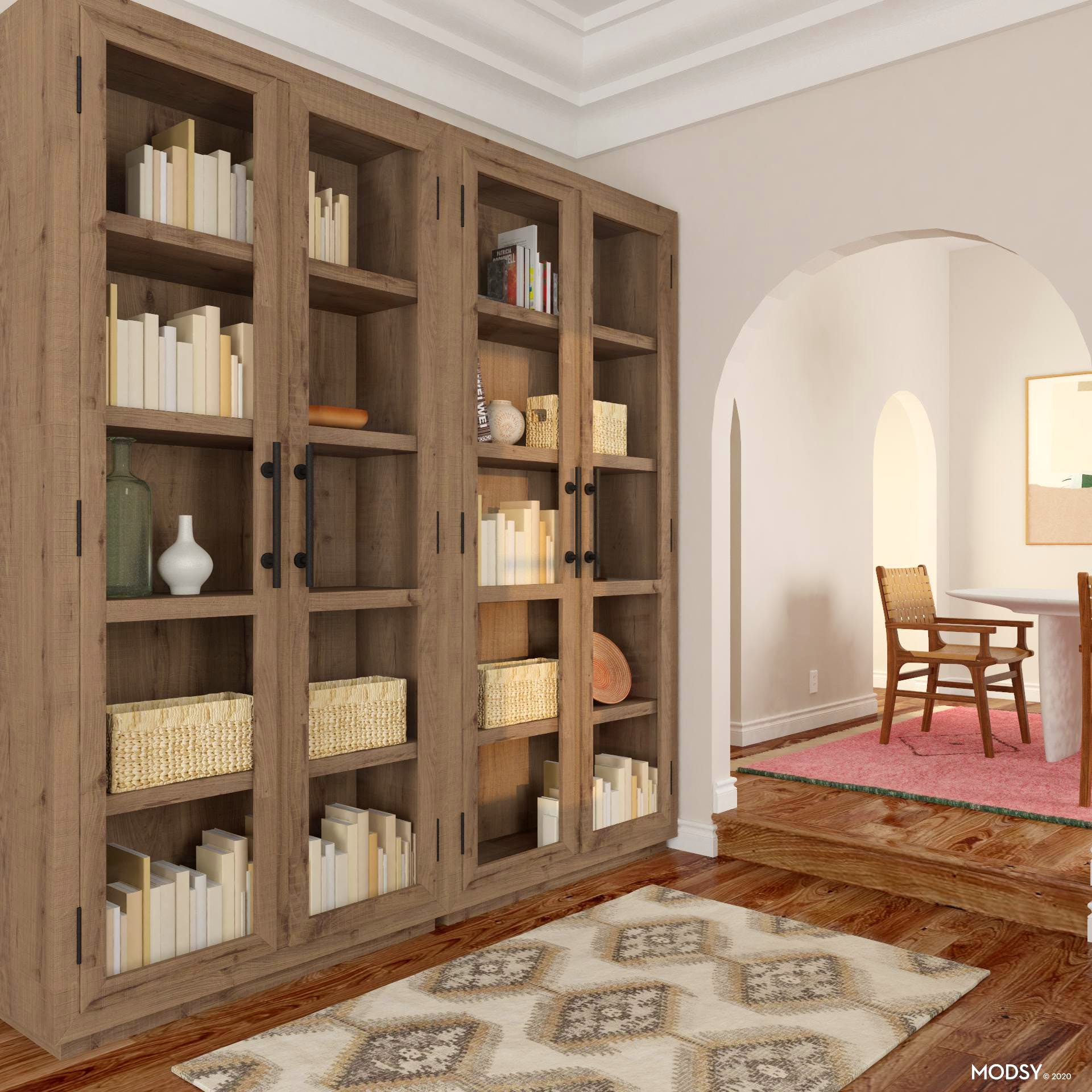 Traditional Bookcase in Raw Wood Finish