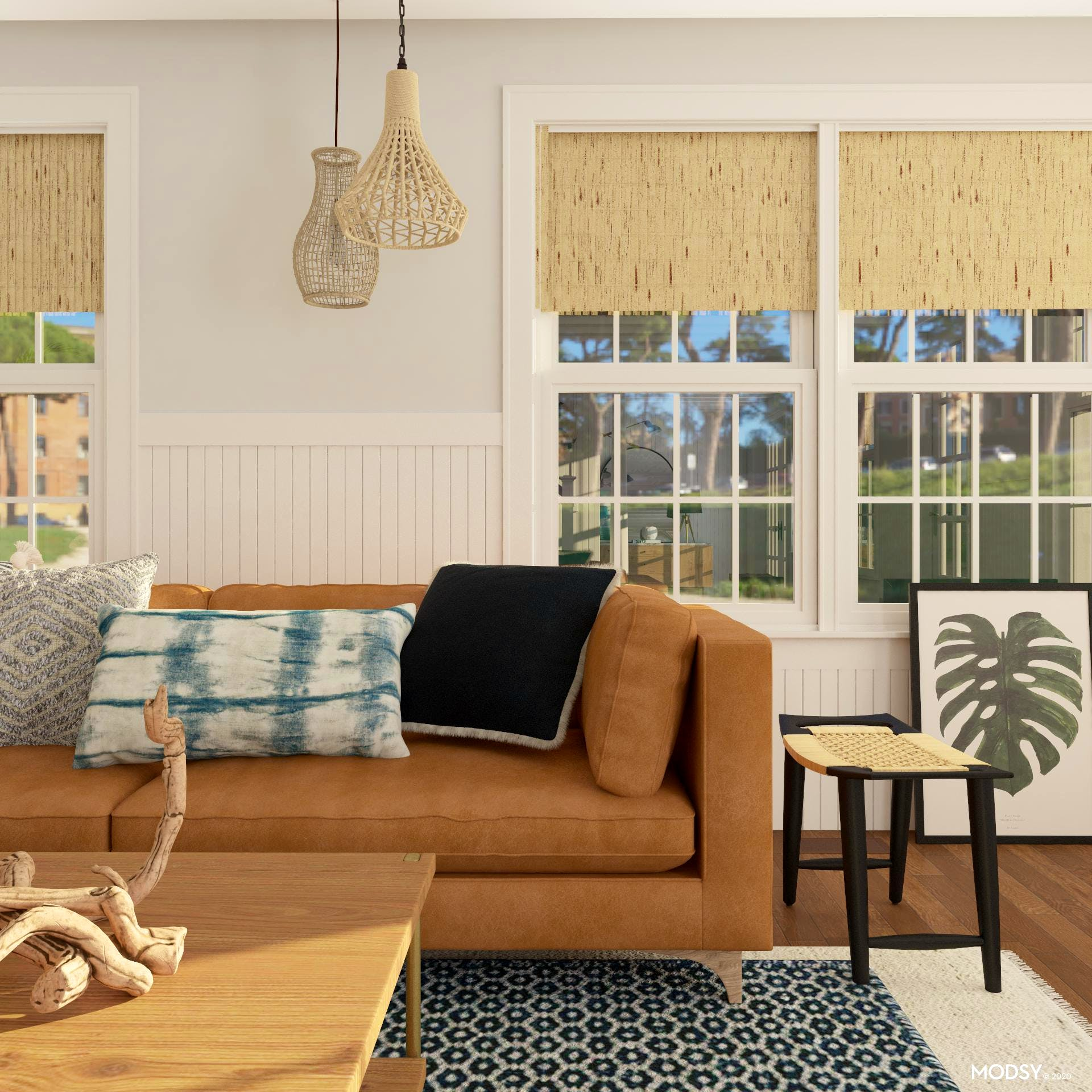 Beachy Mid-Century-Modern Living Room with Graphic Accents